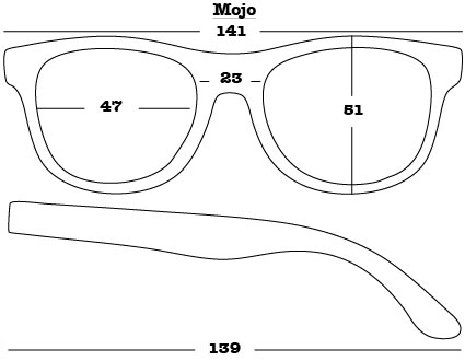 Mojo Sunglasses dimensions