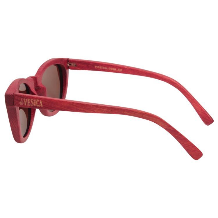 Vesica Wood sunglasses sideBrooklyn red