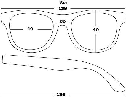 Zia Sunglasses dimensions