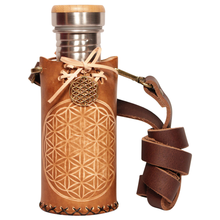 Flower of life Timber brown Deluxe Vesica waterbottlecase 1 of 4 A 532ml