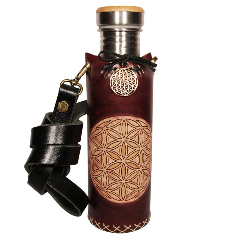 Flower of life mohogany Deluxe Vesica waterbottlecase 1 of 4