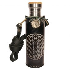 Flower of life black A Deluxe Vesica waterbottlecase 1 of 4
