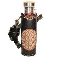 Flower of life black Deluxe Vesica waterbottle 1 of 4