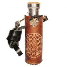 Flower of life brown Deluxe Vesica waterbottlecase 1 of 4