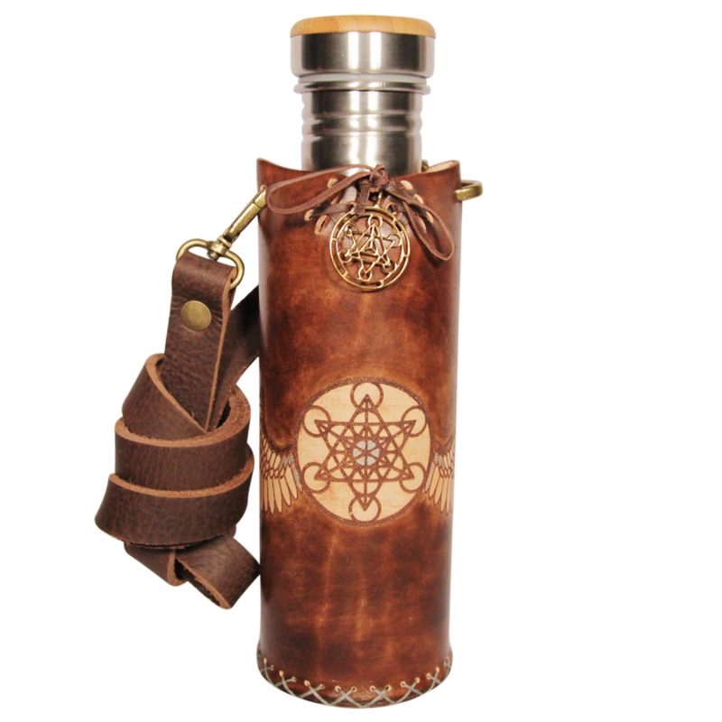 Metatrons Wings brown Deluxe Vesica waterbottlecase 1 of 4