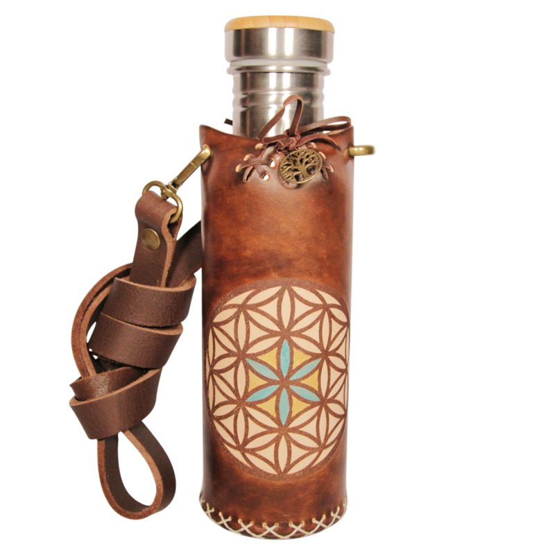 Seed of life brown Deluxe Vesica waterbottlecase 1 of 4