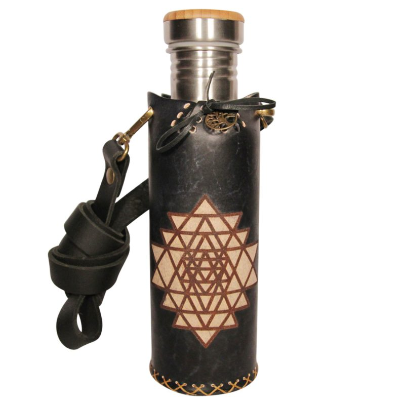 Sri Yantra black Deluxe Vesica waterbottlecase Collage 1 of 4