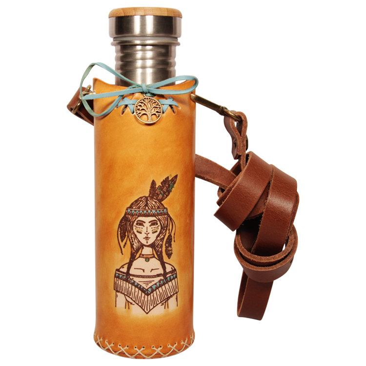 Warrioress Tan Deluxe Vesica waterbottlecase 1 of 4