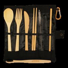 Bamboo Cutlery Black Set