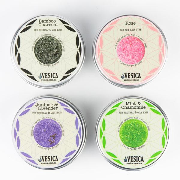 Vesica shampoo bars tins